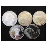 5- 1 oz. Silver Rounds, .999 Fine Silver, 5 x $