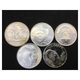 5- 1 oz. .999 Silver Rounds, 5 x $