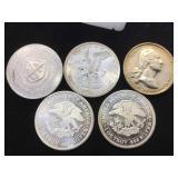 5- 1oz. .999 Fine Silver Rounds, 5 x $