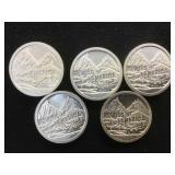 5- 1 oz. .999 Fine Silver Swiss of America S