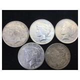 5- MORGAN & PEACE SILVER DOLLARS, 5 x $