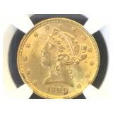 1900 GOLD  NGC MS62 $5 HALF EAGLE