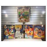 5 framed Disney prints, 1 w/ cracked front glass