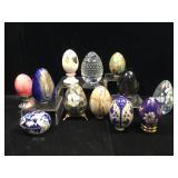 Stone eggs, abalone egg, Fenton egg, cloisonné