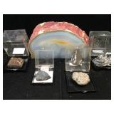 Geode slice & rock specimens