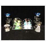 Cut glass & handmade art glass figures