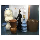 Vintage lot inc 2 1950s pottery lamps, plastic