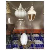 3 vintage white 1960s era hanging swag  lamps