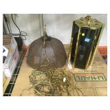 2 vintage 1970s swag lamps, wicker with white