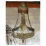 Vintage shabby chic gold metal and glass