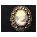 Sterling cameo brooch/ pendant