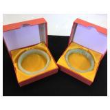 2- Jade Bangle Bracelets, w/ boxes