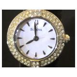 Ladies Bulova watch w/ Swarovski Crystal bevel &