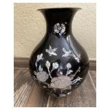 Mother Of Pearl & Abalone On Brass Vase