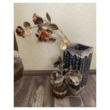 Vtg. Oriental Vase w Brass Flowers & More