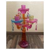 Kitschy Multi Color Glass Candle Holder