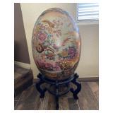 """Vtg Detailed 18"""" Ceramic Chinoiserie Egg"""