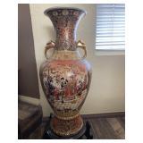 "Vtg. Chinese Hand Painted Floor Vase 24"""