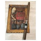 Vintage Indian Plaque & Pipe