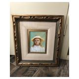 Vtg. Oil Painting-Girl In Hat -J Ellen Wilhelm
