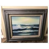 Vtg Oil -Ocean Waves, Signed- Roy