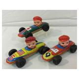 Tin vintage lithograph race cars