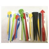 Assorted vintage swizzle stcks, TWA, United