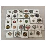Assortment of vintage button pins, Pep & more