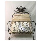 Vintage Newspaper with Ornate Metal Rack
