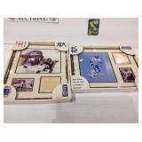 2 football pictures with cards