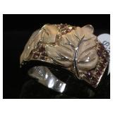 Sterling leaf ring w/ pink gemstones, size 10