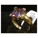 Sterling ring w/ purple gemstone, size 9