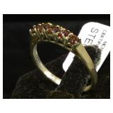 Sterling ring w/ red gemstones, size 9