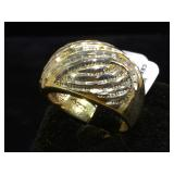 Sterling ring w/ clear gemstones, size 10