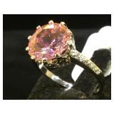 Sterling ring w/ pink gemstone, size 10