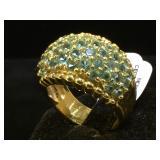 Sterling ring w/ blue gemstones, size 9