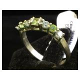 Sterling ring w/ clear & green gemstones, size 9