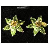 Sterling earrings w/green & yellow gemstones