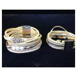 2- Leather & gemstone Kalifano bracelets