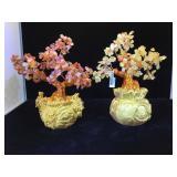 2- Gemstone Prosperity Trees by Kalifano, 9 in.