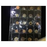 Sheet of Transportation Tokens & Foreign Coins