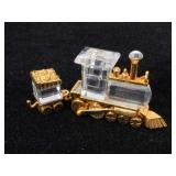 Swarovski crystal coal train & cart, small knick