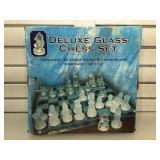 Glass chess set in original box
