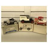 3 die-cast automobile coin banks in original