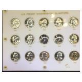 Plaque of US Proof Washington Silver Quarters,