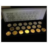 Set of 20 gold-plated Philadelphia & Denver mint