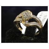 10k GOLD  & Diamond ting, size 6.5, 2.9g (tw)