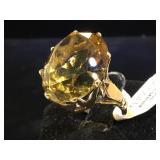 14k GOLD & 25 ct Citrine ring, size 5.5,