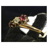 14k GOLD  antique Garnet &Diamond ring, size 6,