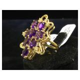 14k GOLD ,Amethyst & Diamond ring, size 5.5, 8g